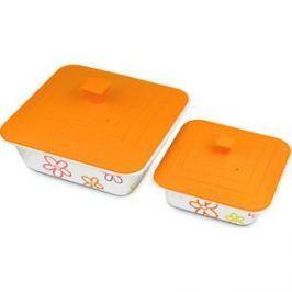 Набор форм для приготовления с крышками 2 штуки Oursson Cerammic & Silicone Цветы (BW2505SC/OR)