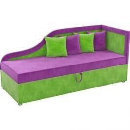Детский диван АртМебель Дюна микровельвет фиолетово-зеленый правый угол