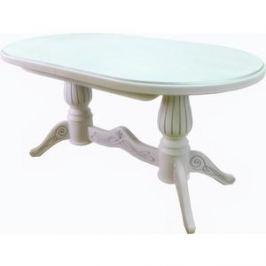 Стол обеденный Мебелик Рифей 01 белый/патина 160/200x90