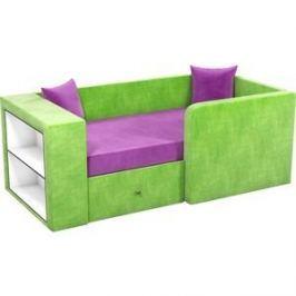 Детский диван АртМебель Орнелла микровельвет фиолетово-зеленый правый угол
