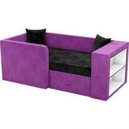 Детский диван АртМебель Орнелла микровельвет черно-фиолетовый левый угол