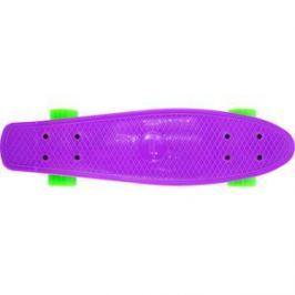 Скейтборд Hubster Cruiser 22 фиолетовый с зелеными колесами 9283П