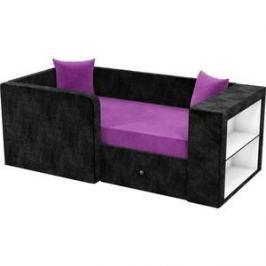 Детский диван АртМебель Орнелла микровельвет фиолетово-черный левый угол