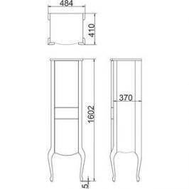 Пенал Timo Еллен плюс 2 дверцы, 1 ящик, бежевый с золотом (Elp.p M-VR (9001-G)-L)