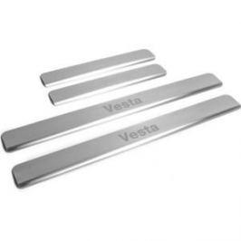 Накладки порогов Rival для Lada Vesta (2015-н.в.), нерж. сталь, с надписью, 4 шт., NP.6007.3