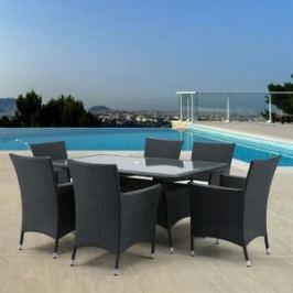 Комплект мебели из искуственного ротанга Afina garden AFM-170S/Y189D black 6Pcs (6+1)