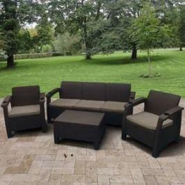 Комплект мебели с диваном Afina garden Yalta 3set AFM-1030A brown/cappuccino (имитация ротанга) 5Pcs