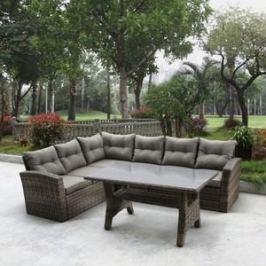 Угловой диван из искусственного ротанга со столиком Afina garden AFM-307G brown/olive