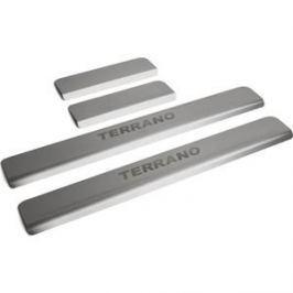 Накладки порогов Rival для Nissan Terrano (2014-н.в.), нерж. сталь, с надписью, 4 шт., NP.4115.3