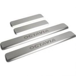 Накладки порогов Rival для Skoda Octavia A7 (2013-н.в.), нерж. сталь, с надписью, 4 шт., NP.5105.3