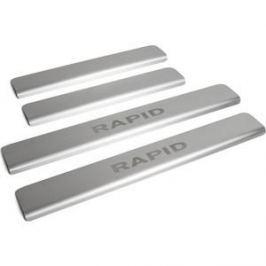 Накладки порогов Rival для Skoda Rapid (2014-н.в.), нерж. сталь, с надписью, 4 шт., NP.5104.3