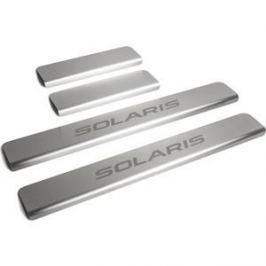 Накладки порогов Rival для Hyundai Solaris (2011-2016), нерж. сталь, с надписью, 4 шт., NP.2301.3