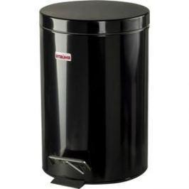 Ведро-контейнер для мусора с педалью Лайма 12л глянцевое, нержавеющая сталь черный 602850