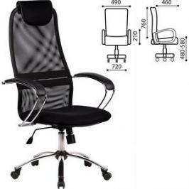 Кресло офисное Метта BK-8CH ткань-сетка, хром, черное 80364