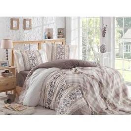 Набор для спальни Hobby home collection Carla покрывало + КПБ Евро поплин коричневый (1501001417)