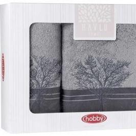 Набор из 2 полотенец Hobby home collection Infinity (50x90/70x140) серый (1501001832)