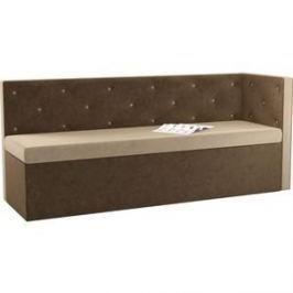 Кухонный угловой диван АртМебель Салвадор микровельвет бежево-коричневый правый угол