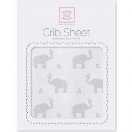 Детская простынь SwaddleDesigns Fitted Crib Sheet PP Elephant and Chickie (SD-473PP)