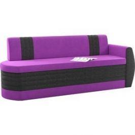 Кухонный диван АртМебель Токио ОД микровельвет фиолетово-черный правый