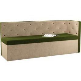 Кухонный угловой диван АртМебель Салвадор микровельвет зелено-бежевый правый угол