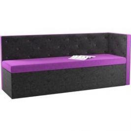 Кухонный угловой диван АртМебель Салвадор микровельвет фиолетово-черный правый угол