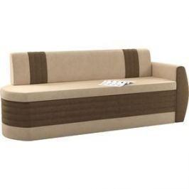 Кухонный диван АртМебель Токио ОД микровельвет бежево-коричневый правый