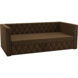 Детская кровать АртМебель Таранто микровельвет коричневый