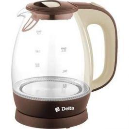 Чайник электрический Delta DL-1203 коричневый с бежевым