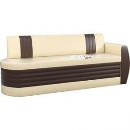 Кухонный диван АртМебель Токио ОД эко-кожа бежево-коричневый правый