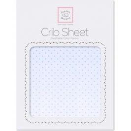 Детская простынь SwaddleDesigns Fitted Crib Sheet Lt. PB w/PB Dots (SD-157PB)