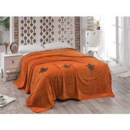 Покрывало Karna вельсофт с вышивкой Damask 160x220 см (2009/CHAR003)