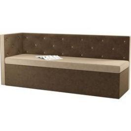 Кухонный угловой диван АртМебель Салвадор микровельвет бежево-коричневый левый угол