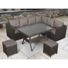 Угловой модульный комплект мебели с диваном Afina garden X04 brown