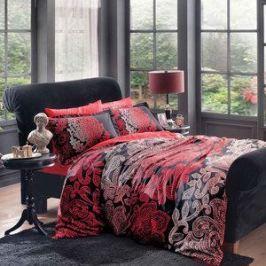 Комплект постельного белья TAC 2-х сп, сатин, Valencia v3-siyah, черный (4245-35714)