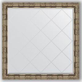 Зеркало с гравировкой Evoform Exclusive-G 103x103 см, в багетной раме - серебряный бамбук 73 мм (BY 4437)