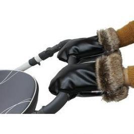 Варежки Vikalex Snow Dreams черная эко-кожа/черный мех