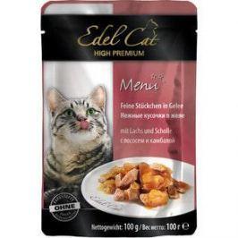 Паучи Edel Cat Menu нежные кусочки в желе с лососем и камбалой для кошек 100г (08105)