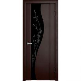 Дверь VERDA Ирис остекленная 2000х600 шпон Венге темный