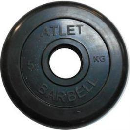 Диск обрезиненный Atlet 51 мм, 5 кг черный