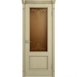 Дверь VERDA Шервуд остекленная 2000х600 шпон Дуб слоновая кость золотая патина на багете