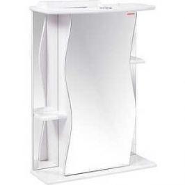 Зеркальный шкаф Меркана лилия 60 см полочки по бокам свет белое (14438)
