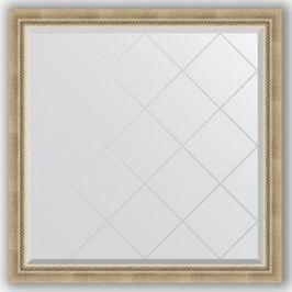 Зеркало с гравировкой Evoform Exclusive-G 103x103 см, в багетной раме - состаренное серебро с плетением 70 мм (BY 4433)