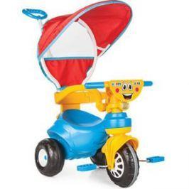 Трехколесный велосипед Pilsan Happy с родительской ручкой цвет сине-желтый (07-161)