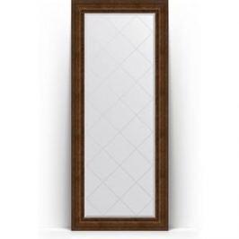 Зеркало напольное с гравировкой поворотное Evoform Exclusive-G Floor 87x207 см, в багетной раме - состаренная бронза с орнаментом 120 мм (BY 6339)