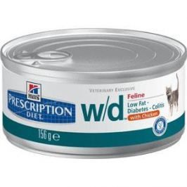 Консервы Hill's Prescription Diet w/d Low Fat Diabetes Chicken с курицей диета при лечении сахарного диабета,колитов для кошек 156г (9455)