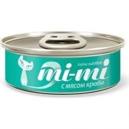 Консервы Mi-Mi Feline Nutrition с мясом краба кусочки в желе для кошек 80г