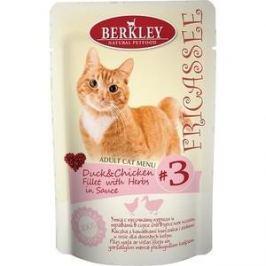 Паучи Berkley Fricasse Adult Cat Menu Duck & Chicken Fillet & Herbs in Sauce № 3 с уткой, курицей и травами в соусе для кошек 85г (75252)
