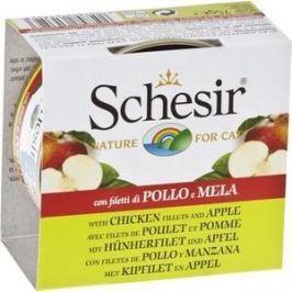 Консервы Schesir Nature for Cat Chicken Fillets & Apple кусочки в желе с куриным филе и яблоком для кошек 75г (С352)