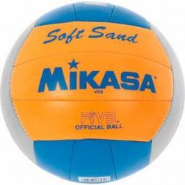 Мяч для пляжного волейбола Mikasa VXS-02, размер 5, цвет серебристо-оранжево-голубой