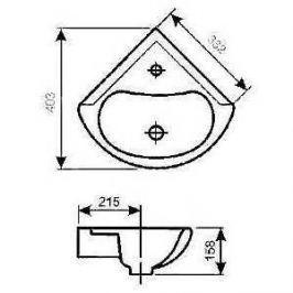 Раковина Santeri Радиан с отверстием угловая (1.3130.9.S00.10B.0)